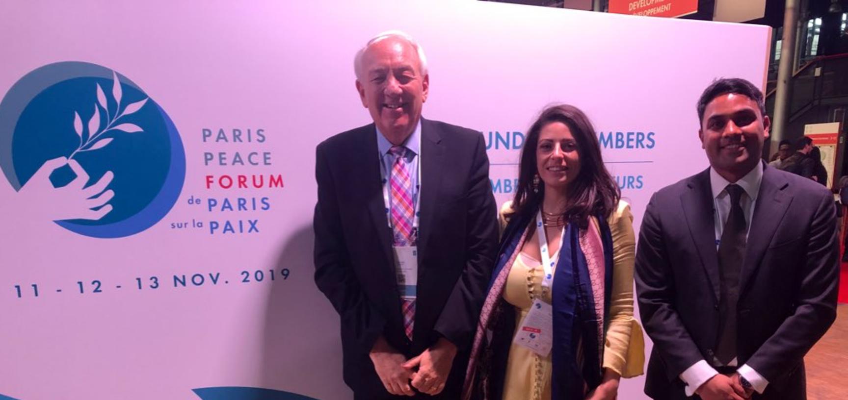 Stephen Rapp, Ryan D'Souza and Federica D'Alessandra at the Paris Peace Forum 2019