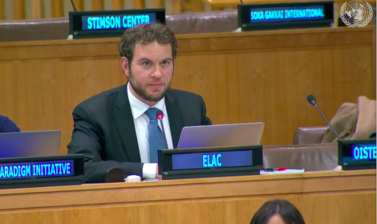 Antonio Coco speaking at the UN OEWG Informal Multi-stakeholder Intersessional Consultative Meeting (2-4 December 2019)